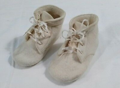 Antique/Vintage Baby Shoes White Wool Felt