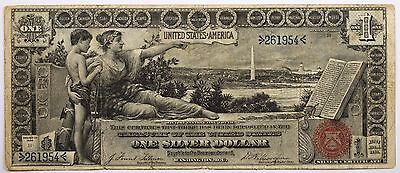 1896 $1 Silver Certificate Educational Very Fine Condition Bold Print - 261954