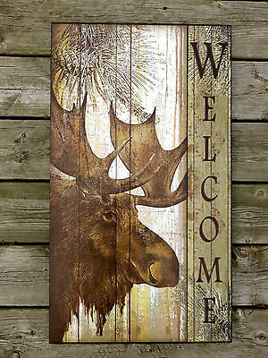 MOOSE WOOD WELCOME WALL DECOR  COUNTRY COTTAGE CABIN DECOR WALL ART NEW 27.5 in.