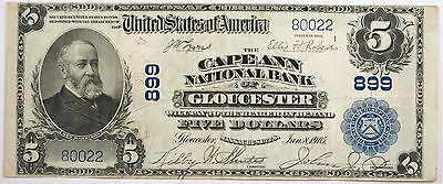 1902 $5 Large Size National Bank Note VF Cape Ann of Gloucester Ch# 599