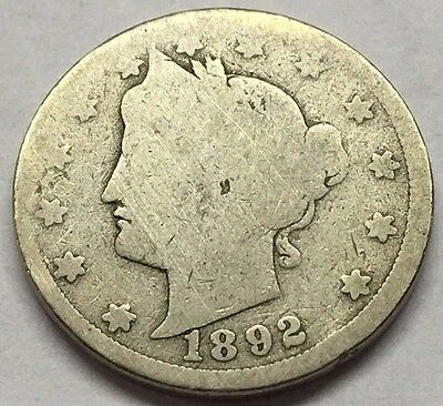 1892 Liberty V Nickel * U.s. Coin * Free Bubble Shipping With Tracking