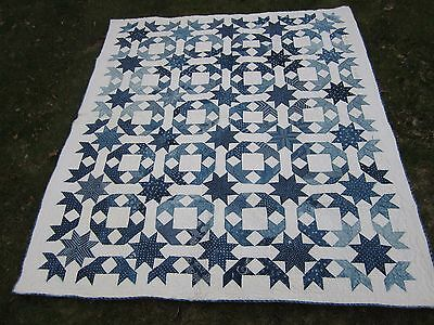 Antique Indigo Quilt - Stars and Cubes - Dated 1898 - 64 x 74""
