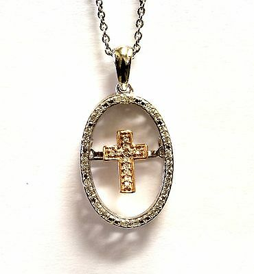 "925 Sterling Silver 10k rose gold shimmer cross diamond pendant 18"" necklace"