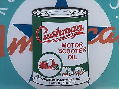 CUSHMAN MOTOR SCOOTER OIL - LINCOLN,NE porcelain coated 18 GAUGE steel SIGN