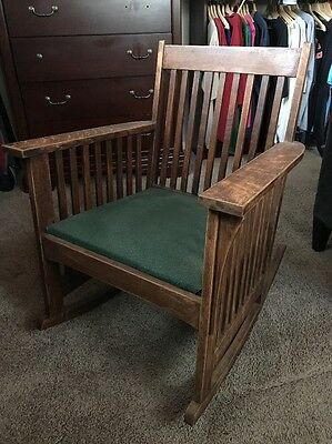 Lovely Antique Mission Arts & Crafts Rocker Chair Stickley Limbers Interest