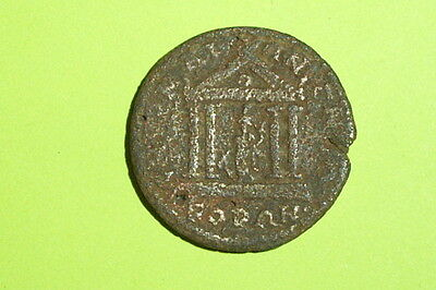 TEMPLE Ancient ROMAN PROVINCIAL COIN 200 AD-300 AD tetrastyle architecture money
