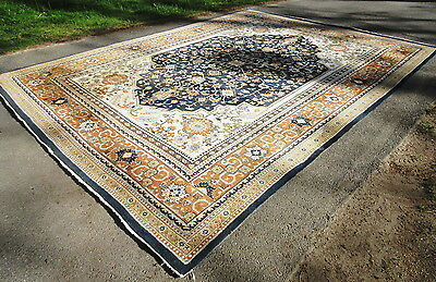 Vintage India Heriz Oriental Persian Carpet 9x12 Hand Knotted Woven Wool