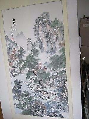 vintage scroll ink water color chinese 71 1/2 x 29 1/4 hand painted landscape