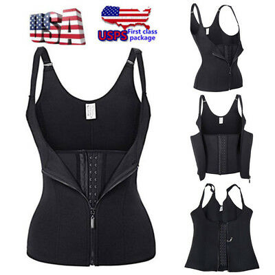 Hot Thermal Compression Fajas Sweat Vest Cami Body Shaper Waist Trimmer Belt US