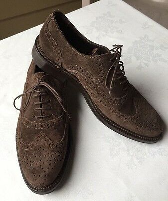 Men's shoes:  A.Testoni  Dark Brown Suede, Wingtip Oxfords Size 9-1/2 M