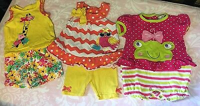 Lot Of Three Baby Girl Outfits – Bright And Cheery, 12 Months
