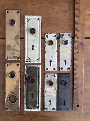 4 Pairs Vintage Brass and Copper Door Knob Backplates Keyhole