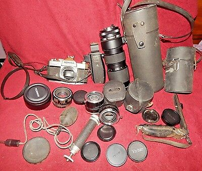 Vintage Lot Of Camera Equipment Camera, Lenses, Cases ECT.