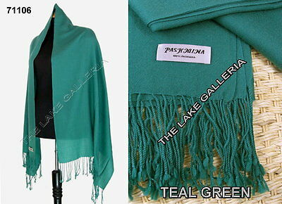 Plain Color Teal Green 100% Real Pashmina Cashmere Wool Shawl Wrap Scarf New