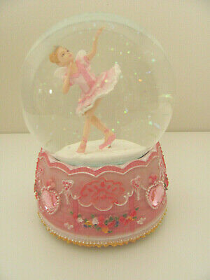 Beautiful Pink Ballerina Fairy Musical Snow Globe Glitter Hearts Waterball Gift