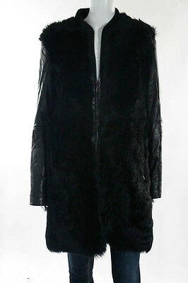 Vince Black Leather Shearling Long Sleeve Zip Front Coat Size Small $2795