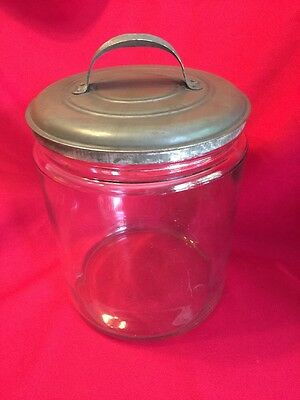 Large Antique Apothecary Store Display Candy Cookie Glass Jar Blown Glass & Lid