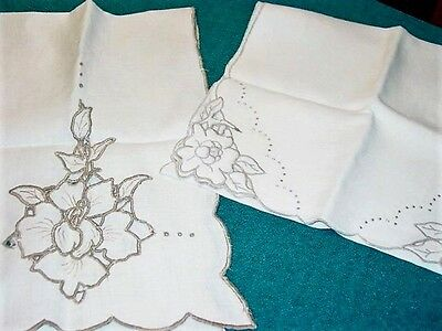 Vintage Linen Madeira Linen Table Runners 2pc 14x52 &12x36 Ex.Cond! 1940's Items