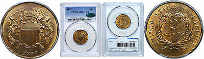 1867 Two Cent Piece PCGS MS-65+ CAC