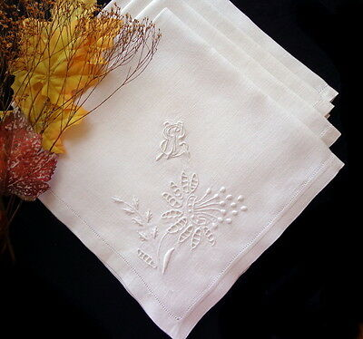 FOUR Antique White Linen Napkins Fine Madeira Cutwork Hand-Embroidery ART DECO