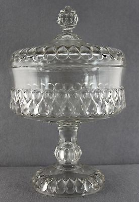 Antique Eapg Tall Covered Pressed Glass Compote Stands 13 Inch Pattern Unknown