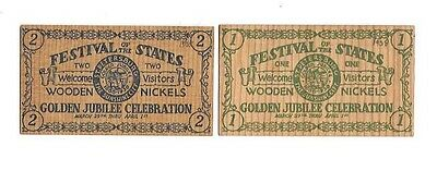 2-1938 Festival Of The States Golden Jubilee Celebration Wooden Nickels