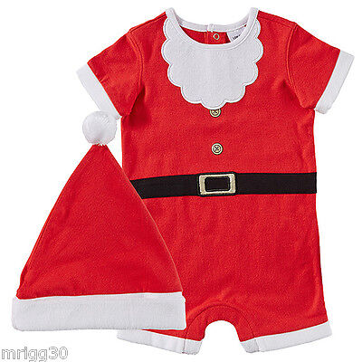 BABY size 00 CHRISTMAS SANTA SUIT HAT summer NEW  3-6 mths outfit costume *FADE*