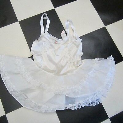 Allison Ann Usa Tiny Childs Vintage Nylon Lacy Petticoat White 1960S Rare Sz4