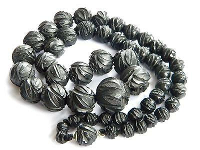 LARGE 83g Victorian WHITBY JET necklace carved beads