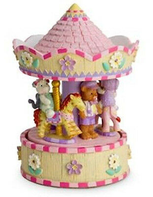 Child Baby Girl Newborn Pink Teddy Musical Carousel Snowglobe Christening Birth