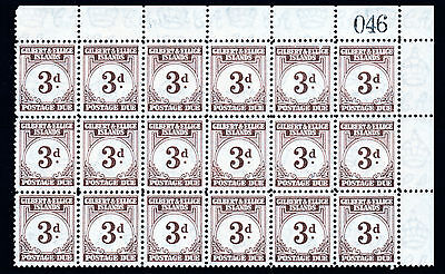 Gilbert & Ellice 4022 - 1940 POSTAGE DUE 3d Corner block of 30 unmounted mint