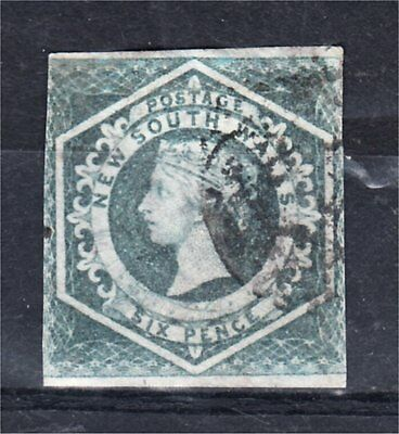 NEW SOUTH WALES 6d GREY IMPERFORATE DIADEM USED (F96)