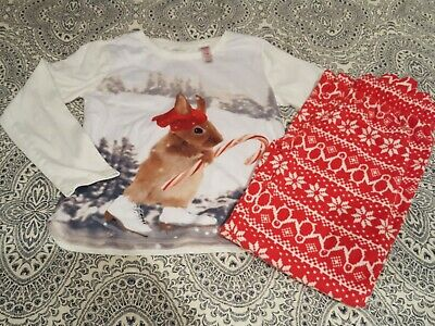 Girls Gap Red Pyjamas 12 Yrs Christmas Mouse Top Nordic