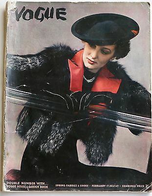 1937 Anton Bruehl VOGUE 30s fashion paisley hats shoes corsetry jewellery