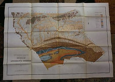 1879 Geological Map of LYCOMING COUNTY Pennsylvania by Andrew Sherwood Rare