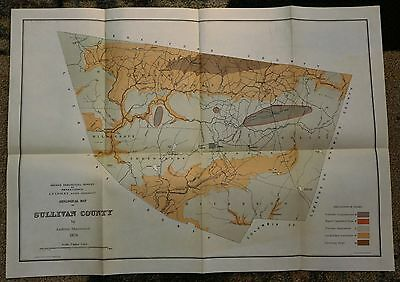 1879 Geological Map of SULLIVAN COUNTY Pennsylvania by Andrew Sherwood Rare