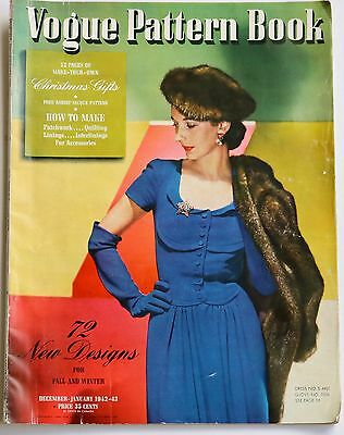 1942 Vogue Pattern Book 1940s vintage fashion suits dresses lingerie crochet hat