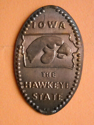 Iowa elongated penny IA USA cent The Hawkeye State souvenir coin