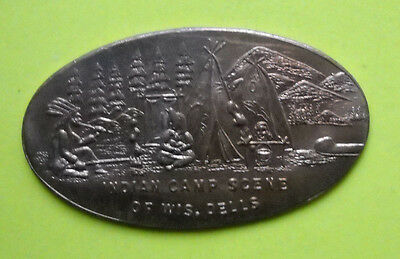 Indian Camp Scene elongated penny Wisconsin Dells USA INDIAN HEAD cent coin