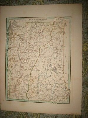 Superb Early Antique 1835 Vermont New Hampshire Bradford Handcolored Map Rare Nr