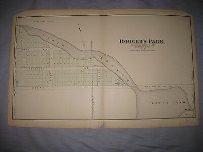 Rare Antique 1878 Spring Lake New Jersey Handcolored Map Superb Railroad Nr