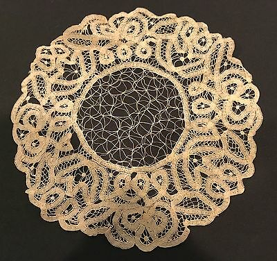 Antique Needle Lace & Embroidered Tape Lace Doily 9 In. Round Very Unique