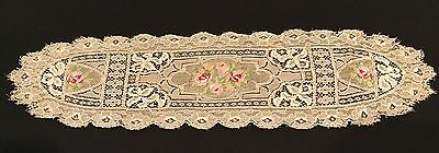 Antique Net Lace  Doily Pettit Pointe Victorian  4 X 16 Inches