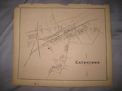 Superb Antique 1878 Eatontown New Jersey Handcolored Map Rare Fine Nr