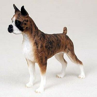 BOXER Dog HAND PAINTED FIGURINE Resin Statue Collectible CROPPED BRINDLE Puppy