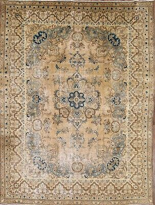 Antique Geometric Muted Color 10x13 Tabriz Persian Oriental Area Rug 12'6 x 9'6