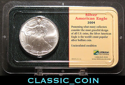 2004 American Silver Eagle Dollar $1 Uncirculated 1 Oz Littleton Packagefree S/h