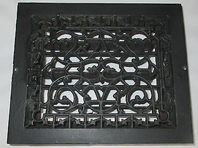 """ANTIQUE/VINTAGE FLOOR HEAT REGISTER w/LOUVERS and LOVELY DECORATIVE GRATE-8""""x10"""""""