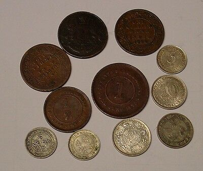 British Asia, a small group of 11 old coins, 1833-1941.
