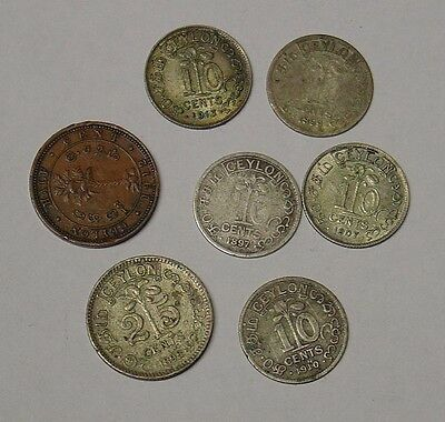 CEYLON, small group of old coins 1895-1912.